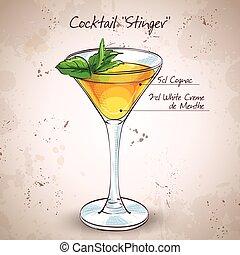 Cocktail alcoholic Stinger. It consists of Cognac, Liqueur...