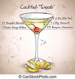 Tuxedo alcoholic cocktail - Tuxedo cocktail, consisting of...