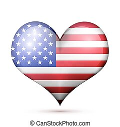 USA Heart flag icon - a heart with the flag of United States...