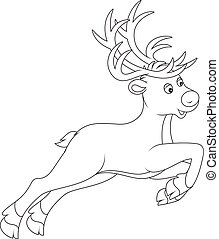 Reindeer - Black and white vector illustration of a reindeer...