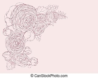 Greeting pink horizontal card with linear peony flowers