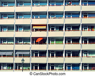 GDR houses - high rises in east berlin, details of facade