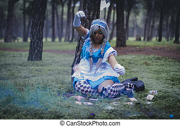 alice in wonderland, girl in a forest with smoke colore and...