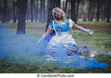 fashion, alice in wonderland, girl in a forest with smoke...
