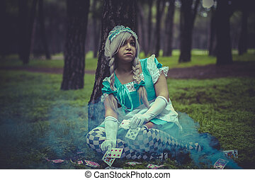 costume, alice in wonderland, girl in a forest with smoke...