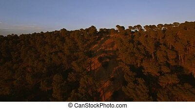 4K Aerial, Flying into sunset in Andalusia, Spain -...