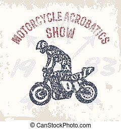 Typography lettering motorcyclist - Typography monochrome...
