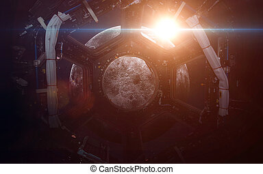 A round window on a space station This image elements...