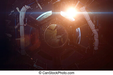 A round window on a space station with a view of Earth below...