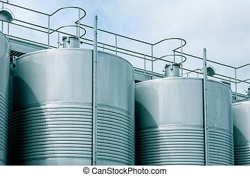 Wine Fermenting in huge vats