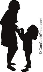 sisters playing, silhouette