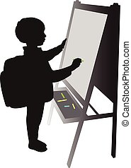 school boy writing on board
