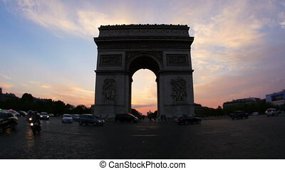 """champs elysees view with traffic at sunset, paris, france, 4k"""