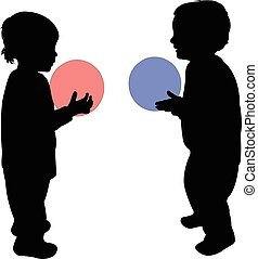 two children playing with ball
