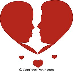 Two lovers. Silhouette in heart shape