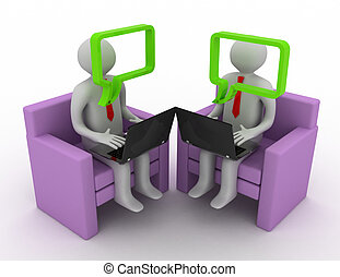 Online communication concept. Chatting