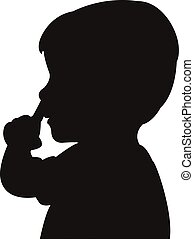 a boy picking his nose, silhouette