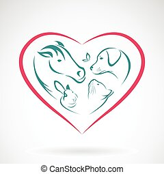 Vector image of animal on heart shape