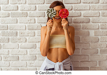 Cute teenage girl - Portrait of a cute teenage girl in a top...