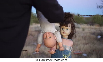 Doll Horror Psycho Hanging Dolls - Static shot of a mentally...