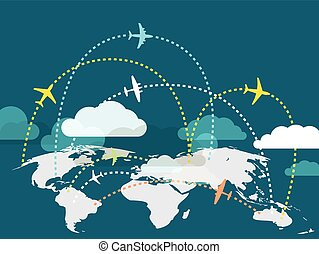 Airplanes flying over the Earth map