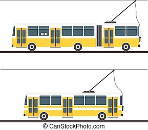 Vector city trolleybus collection isolated on white