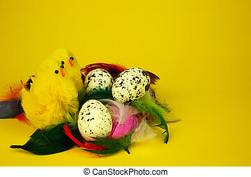Three eggs and two chickens, Easter decoration