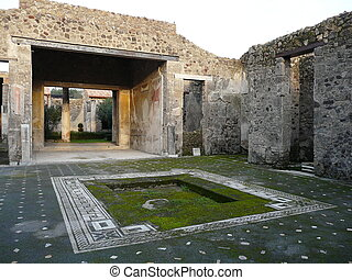 Courtyard of a ruined villa at Pompeii, Italy