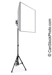 Studio strobe with softbox isolated on white background 3d -...
