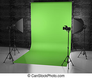 Greenscreen studio with lightbox and softbox. Film studio with green backdrop. 3d rendering