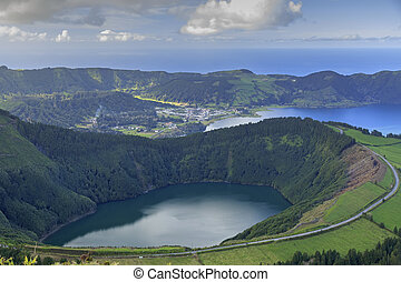 Lagoa de Santiago and Lagoa Azul on San Miguel island of...
