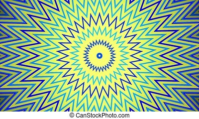 Abstract growing star in blue and yellow
