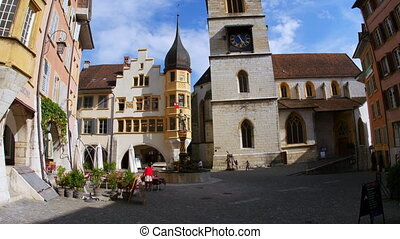 clock tower view at downtown in swiss town