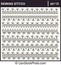 0216_18 sewing stitch - Collection of vector illustration...
