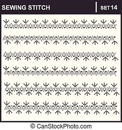 0216_19 sewing stitch - Collection of vector illustration...
