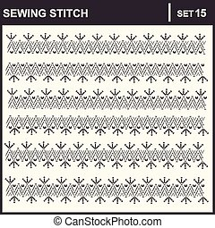 0216_20 sewing stitch - Collection of vector illustration...