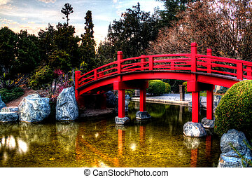 Bridge Over Water with a greenish-yellow hue. Processed in...