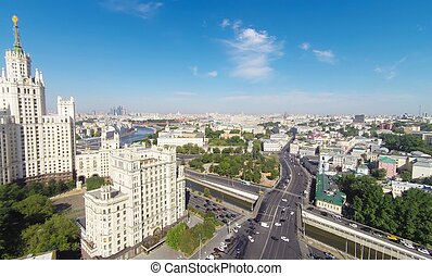 Moscow - Kotelnicheskaya Embankment Building and center of...