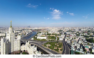 Moscow - Aerial view of the Kotelnicheskaya Embankment...