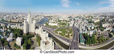 Moscow - Aerial panorama of the Kotelnicheskaya Embankment...