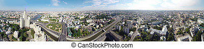 Moscow - Seamless panorama of Moscow with Kotelnicheskaya...