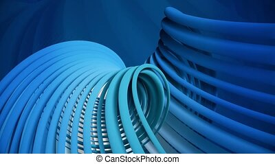 Rotating spirals in blue and white colors