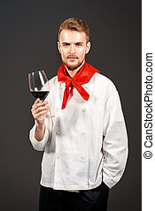 winemaking - Male sommelier tasting red wine Winemaking...