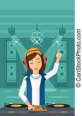Smiling DJ with console. - A DJ in eadphones with hand up...