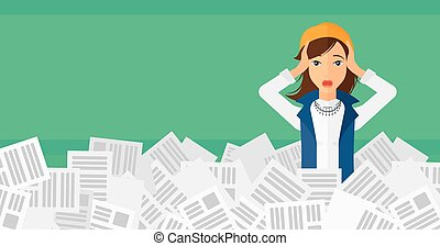 Woman in stack of newspapers. - A stressed woman clutching...