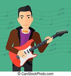 Musician playing electric guitar - A man playing electric...