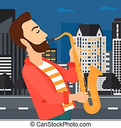 Musician playing saxophone - A hipster man with the beard...