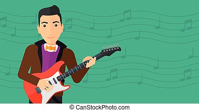 Musician playing electric guitar. - A man playing electric...