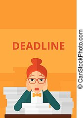 Woman having problem with deadline - A scared woman sitting...