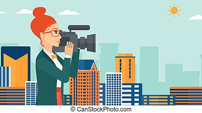 Camerawoman with video camera - A camerawoman with video...